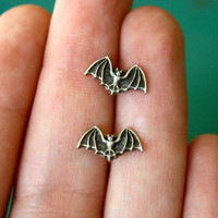 Little Silver Bat Stud Earrings