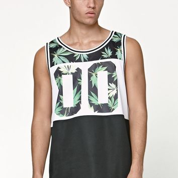 On The Byas Leaf Panel Tank Top - Mens Tee - Black