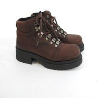 90s Chunky Lace Up Platform Boots Brown Leather Hiking Boots Grunge Heel Ankle Boots M