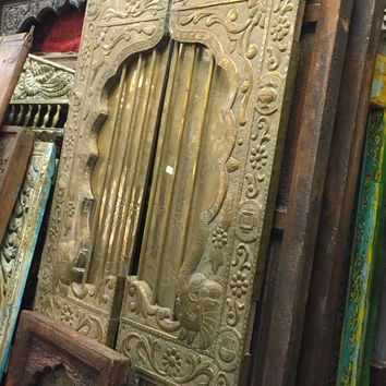 Vintage Antique Doors Brass Metal Cladded Architecture India Panel Unique Door Indian Furniture