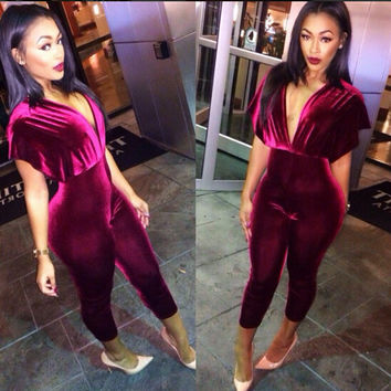 Fashion Red Bodycon Jumpsuit V-Neck