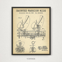 Haunted Mansion Ride, Disneyland Patent Print, Digital Download, Disney World Blueprint Art, Kids Room Decor, Children's Gift, Amusement Art