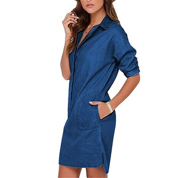 Plus Size Women Dress 2017 Denim Dresses Casual Vintage Vestidos Mini Loose Shirt Dresses Body Pullovers For Women LJ1286U