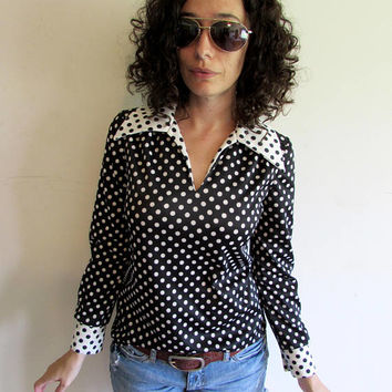Vintage 70s Black and White Polka Dot Polyester Shirt with Oversize 70s Collar