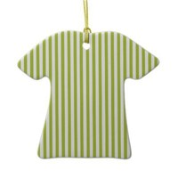 Acid Green And Vertical White Stripes Patterns Christmas Tree Ornaments from Zazzle.com