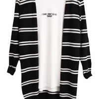 Black Long Sleeve Striped Knit Cardigan