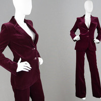 Vintage 70s Velvet Trouser Suit Wine Velvet Flared Pant Suit Womens Pantsuit 2 Piece Blazer Jacket 1970s Outfit Disco Ensemble Stephen Marks