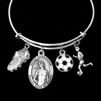 Saint Sebastian Patron Saint of Sports Soccer Jewelry Adjustable Bracelet Silver Expandable Charm Bangle Soccer Ball Cleat One Size Fits All Inspirational Gift Soccer Girl