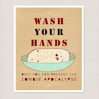 Wash Your Hands Or Zombies 8x10   Funny Typography Print Bathroom Decor Kitchen Decor Halloween Decoration Reminder Poster