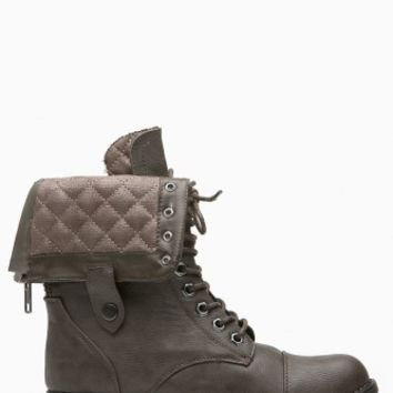 Brown Faux Leather Quilted Fold Over Combat Boots @ Cicihot Boots Catalog:women's winter boots,leather thigh high boots,black platform knee high boots,over the knee boots,Go Go boots,cowgirl boots,gladiator boots,womens dress boots,skirt boots.