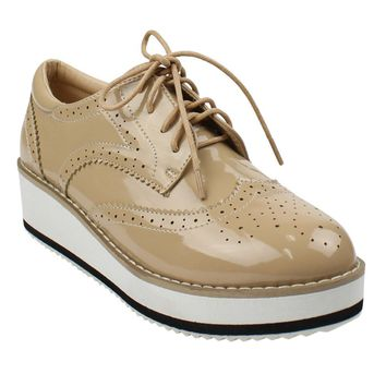 DE19 Women Shoes Platform Wingtips Wedge Heel Oxford Shoes Run One Size Small