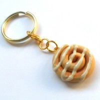 Miniature Food Cinnamon Roll Key Chain, Gold Tone, Kitsch Tiny Cinnamon Bun, Cute And Kawaii :D