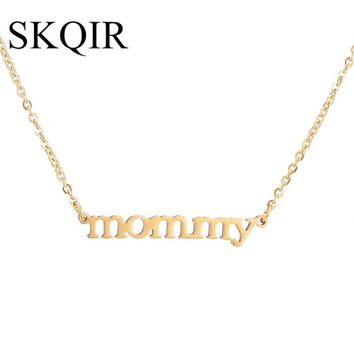 SKQIR Love Mom Necklaces & Pendants Silver/Gold Chain Stainless Steel Custom Letter Personalized Mommy Choker Necklace collares