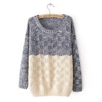 Mixed Color Knit Sweater for Women from threelittlebirds