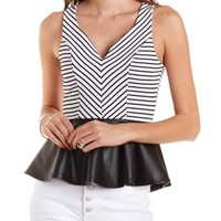Striped Faux Leather Peplum Top by Charlotte Russe