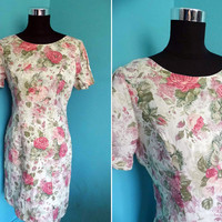 Laura Ashley Floral Summer Dress UK 12 EU 38 US 8 Tea dress made in England vintage summer dresses 80s