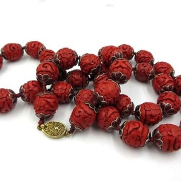 Vintage Chinese Carved Cinnabar Red Enamel Caps Bead Necklace Art Deco