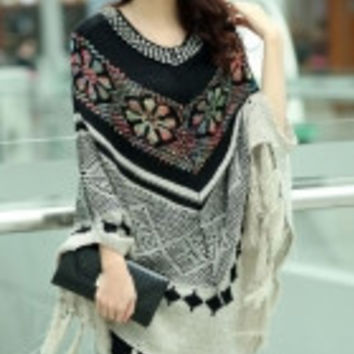 Ivory Sequined Christmas Snowflake Poncho Sweater
