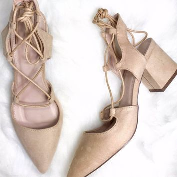 Sicily Nude Lace Up Heels