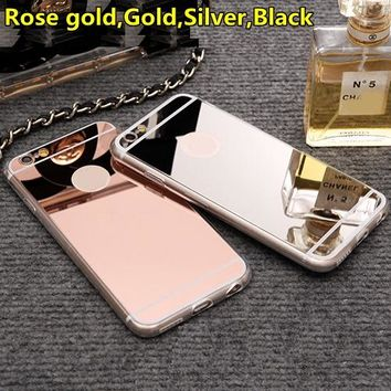 Fashion Rose gold Luxury Mirror Flash Fashion Case For iPhone 7 6 6S Plus 5s SE 8 X XS MAX Soft Clear TPU Cover For iPhone 6 XR