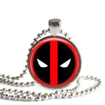 Deadpool Silver Plated Picture Pendant Necklace