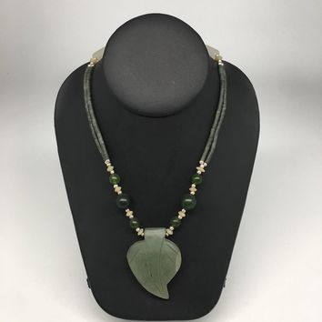 "1pc, Double-Strands Green Nephrite Jade Beaded Necklace @Afghanistan,24"" NPH39"
