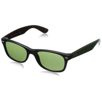 Ray-Ban RB2132 New Wayfarer Sunglasses Black & Green Frame Green Classic Lens