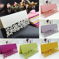 100 pcs/lot Laser Cut Elegant Wedding Table Place Card Name Cards Seating Numbers Birthday Party Table Decoration Centerpieces