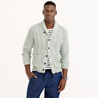 TEXTURED COTTON SHAWL-COLLAR CARDIGAN