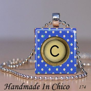 Scrabble Tile Pendant - Pick Your Letter Vintage Blue Dots Typewriter Key 174 - with Decorative MATCHBOX gift box - $7.95 - Handmade Crafts by Handmadeinchico