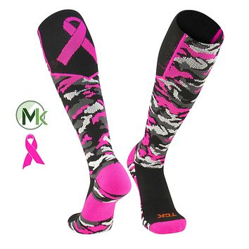 TCK Elite Breast Cancer Aware Woodland Camo Football Baseball Knee-High Socks