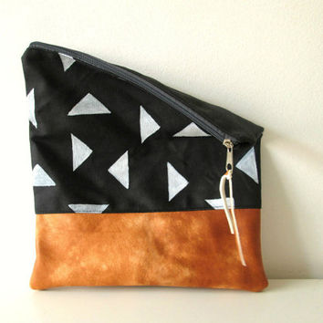 Hand painted fold over clutch Pouch  Canvas and genuine lambskin leather, Geometry , OOAK