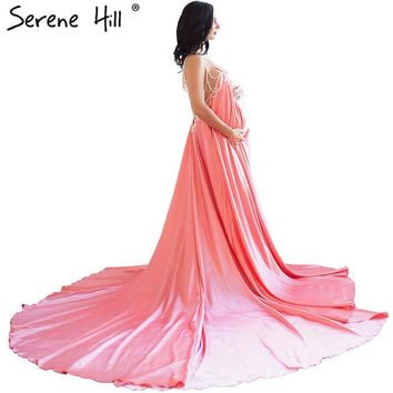 Sexy Backless Pearls pregnancy photography dress Long Train Evening Dresses