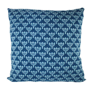 Large wool / leather pillow - little tulips in blue 23x23