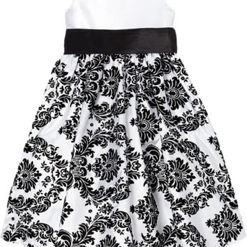 Black Velvet Flocked Damask on White Taffeta Christmas Dress with Black Sash (Baby Girls)