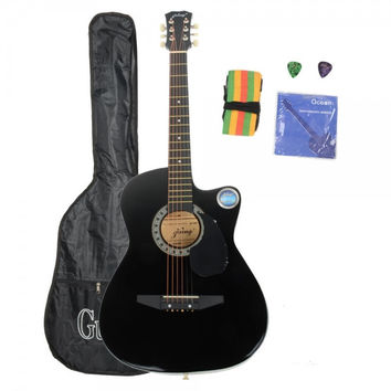 """38"""" Basswood Cutaway Acoustic Guitar Black with Bag Strap Pick"""