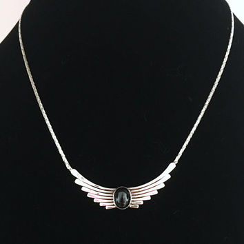 Vintage Art Deco Style Necklace with Black Oval Glass Cabochon, STERLING SILVER Signed Cobra Chain, Winged Beetle Modernist Jewelry