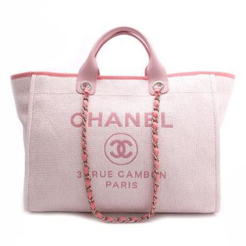 CHANEL Deauville Tote Chain Shoulder Bag Purse A66941 Rose Clair Women Auth Rare