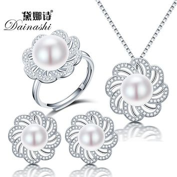 Dainashi new freshwater pearl jewelry sets with pearl necklace pearl adjustable rings pearl earrings of 925 sterling silver