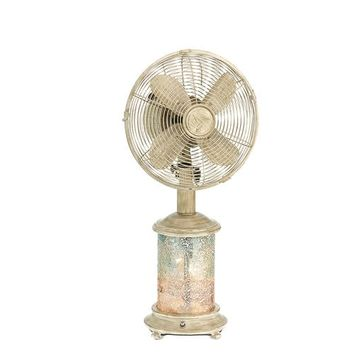Mosaic Glass Sea Breeze Table Fan & Lamp