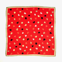 OROTON!!! Vintage 1980s 'Oroton' red silk scarf with abstracted petal print and striped border
