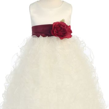 Ivory Satin & Ruffled Organza Flower Girl Dress w. Sash 12m-12