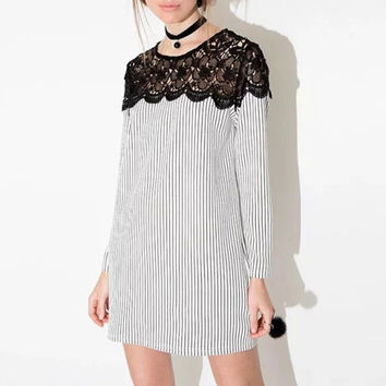 Lace Pameled Long Sleeve Stripe Mini Dress