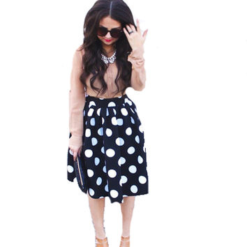 Tara Lynn's Polka Dot Knee Length Skirts
