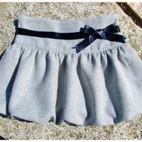 Girls Grey balloon Skirt with blue ribbon