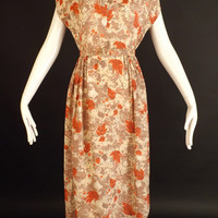 1940s Coral Floral Rayon Dress, Bust-36