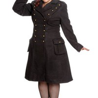 "Hell Bunny Victorian Steampunk Gothic Military Corset "" Imma"" Coat Gray"