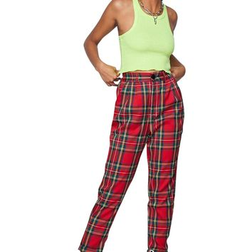 McQueen High Waisted Plaid Trouser Pant Red