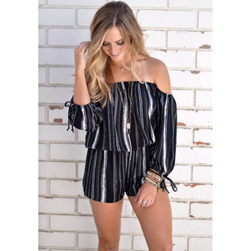 Black Striped Off the Shoulder Rompers
