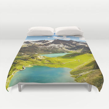 Duvet Cover, Mountain Nature Trees Sky Clouds Bedding Cover, Decorative Nature Bedroom Decor, Home Decor, King, Queen, Full